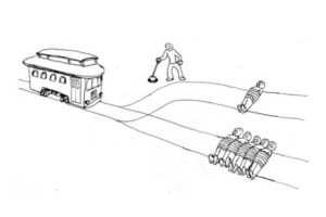 A visualisation of the trolley problem.