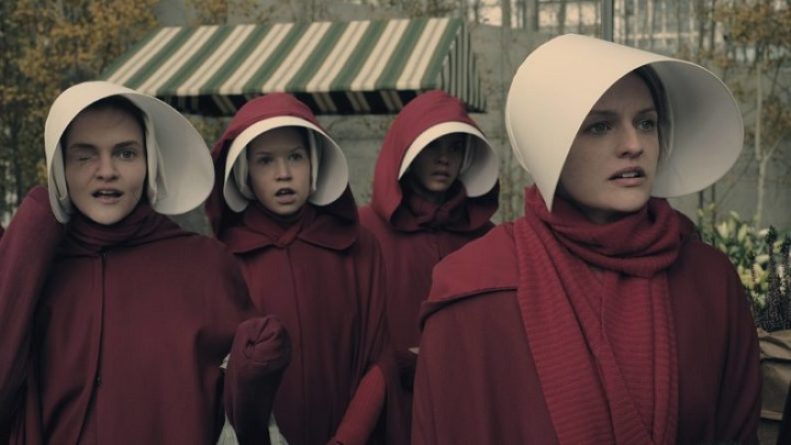 Offred with the other handmaids in Hulu's TV adaptation of Margaret Atwood's classic novel The Handmaid's Tale.